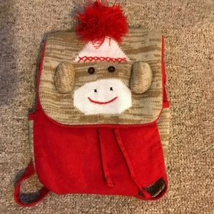 Other - Sock Monkey Kids Backpack or Purse Like New